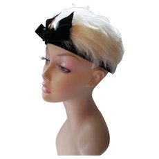 Wispy White Feather Hat with Black Velvet Band and Bow Mid Century Style