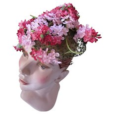 Perky Vintage Hat Shades of Pink Millinery Flowers Bette Boutique For Salvage