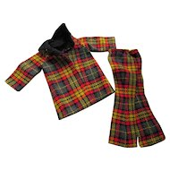Doll Outfit in Yellow Red Plaid Coat and Slacks 1970 Style 12 Inch Chest Free Shipping USA