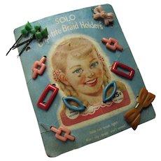 Girl Barrettes 1950's Original Package Solo Grip Tite Braid Holders