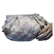 Hand Made Faded Floral Cotton Sewing Work Bag Small Size Pink and Green Floral on Lattice Design
