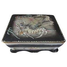 Dragon Ware Moriage Style Trinket Dresser Box Made in Japan
