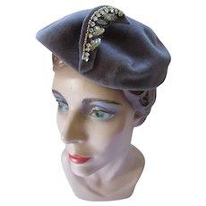 Pewter Tone Felt Hat Chapeaux Original Made in France