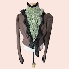 Victorian 1890-1900 Walking Jacket Brown & Green Ecru Lace Black Silk Trim