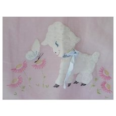World's Cutest Crib Set in Pink Organdy White Lamb and Butterfly