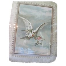 Victorian Era Fringed Easter Card of White Dove Framed