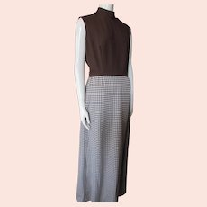1970 Era Knit Long Dress Chocolate Brown Gingham Forever Young