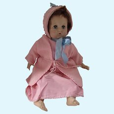 Trio Doll Clothing in Pink Crochet Bonnet Flannel Kimono and Rayon Slip
