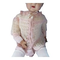 Doll or Infant Hand Crochet Wrap in Pink & White Seashell Pattern