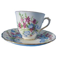 Cup and Saucer Tuscan Fine English Bone China Bluebell Design