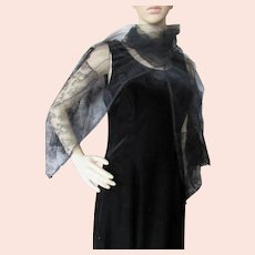 Sophisticated Black Long Scarf or Shawl Net & Lace Made in France