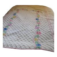 Pretty Chenille Bed Spread Blanket for Child Pinks, Blue, Yellows Flowers