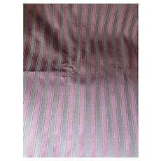 Upholstery Fabric in Deep Plum and Gray Green Stripe 2 yards+ Satin Finish