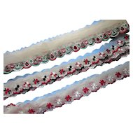 Three Lengths of Vintage Embroidered Trim Swedish or Scandinavian Design Red White Green Black Crafting Doll Clothes
