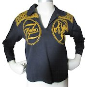 Child Size Zorro Western Black Shirt with Gold Glitter Cowboy and Slashed Z