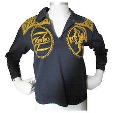 Child Size Zorro Western Black Shirt with Gold Glitter Cowboy and Slashed Z