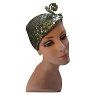 Mid Century Cocktail Hat in Sage Green Sequins Half Hat with Curly Antennae