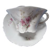 Five Rosenthal Company R x C Germany Versailles Cup & Saucers Violet Pattern Set of 5