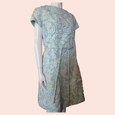 1960 Era Aqua A-Line Dress Polyester Brocade Henry Lee Never Worn