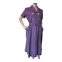 Mid Century Day Dress Purple Black Gingham Mother Craft