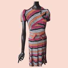Mid Century Dress Ethnic Rayon Print As Is