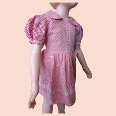 Sweet Little Girl Dress Red White Gingham White Embroidery