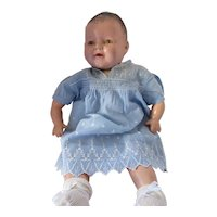 Doll or Infant Dress in Sky Blue White Embroidery
