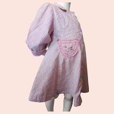 Adorable Girl's Pink Calico Dress Kitty Pocket