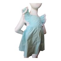 Sweet Mid Century Girl's Pinafore Sun Dress in Turquoise Cotton