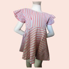 1950 Era Little Girl Dress Seersucker Stripe Red White Blue