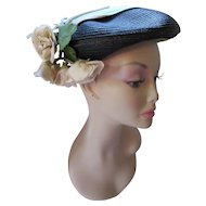 Mid Century Hat in Pancake Style  Black Straw with Apple Green and Lavender Band and Floral Spray