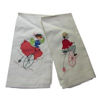 Cute Pair Tea Towels Of Victorian Couple on High Wheel Bikes Trapunto & Embroidery