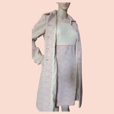 Fantastic Mid Century Coat and Dress in Peach Gray Tweed Alfred Werber