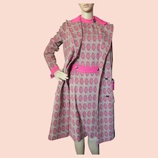 1970 Era Polyester Coat & Dress in Chocolate & Raspberry Dimonelle Made in Israel