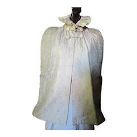 Glamorous Victorian Style Cape in Winter White Brocade with Ruffled Stand Up Collar and Toggle Closure