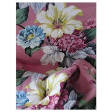 Drape Remnant Saison Happily Married Fabrics in Floral Rose Pink