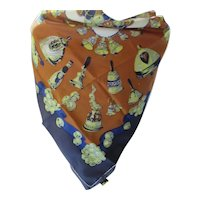 Large Dress Scarf by Symphony Navy Copper Acid Green Bell Design