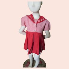 Cute Little Girl Dress in Red White Stripes with Rick Rack Sailor Collar