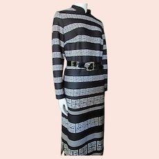 Knit Maxi Dress Black & White Striped Geometric Design 1970 Era