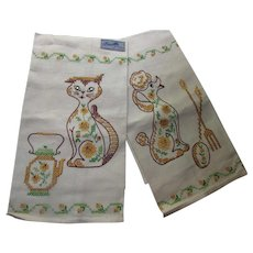 Cute Pair Embroidered Kitchen Towels Poodle and Sassy Cat Unused by Bucilla