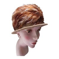 Handsome Velvet Hat with Feather Band in Tones of Coffee, Auburn and Peach Union Made