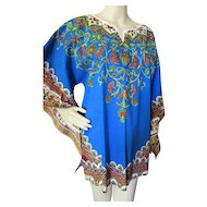 Vintage Boho Style Caftan or Dashiki Top Bandanna Style in Blue with Purple, Green and Gold Accents Cara Creation Made in France