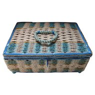 Musical Wicker Sewing Basket in White and Turquoise Plastic Weave Vintage Sewing
