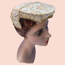 Lovely Vintage Wedding Veil Cap Juliet Style in Cream Sequins and Faux Pearls
