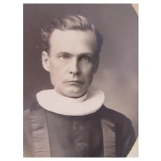 Cleric in Ruff Collar Sepia Photograph Turn of the Century Church of Norway Stoughton WI