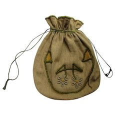 Arts & Crafts Style Embroidered Linen Work Bag or Pouch