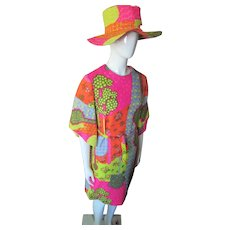 1970 Era Pop Art Mod Squad Psychedelic Print Sheath & Hat