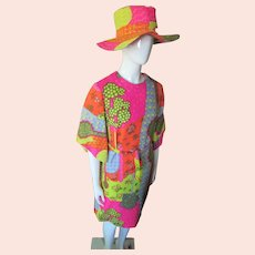 1970 Era Pop Art Mod Squad Psychedelic Print Sheath & Hat