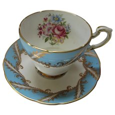 Paragon Fine China Tea Cup Saucer in Turquoise & Gold Swirls & Floral Bouquets