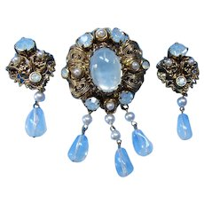 Vintage West Germany Set of Brooch and Earrings in Baroque Style with Clear Moonstone Style Centers